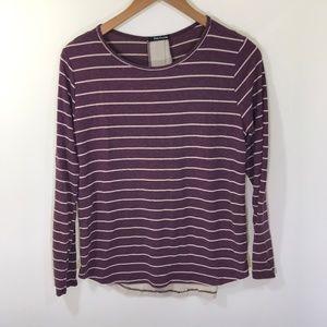 Stitchfix Pink Clover Purple and Cream Striped Top
